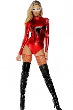 Womens Long Sleeve Spiderman Halloween Bodysuit Costume Red