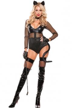 Womens Mesh Patchwork Halloween Bodysuit Costume Black