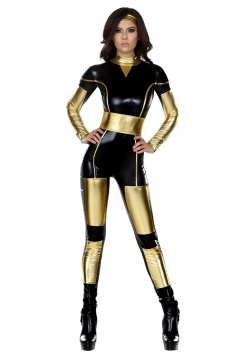 Womens Metallic Iron Man Halloween Catsuit Costume Black