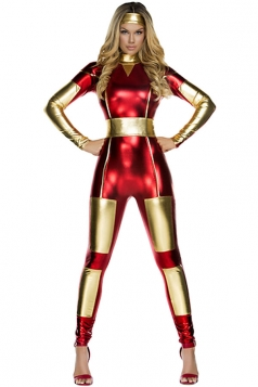 Womens Metallic Iron Man Halloween Catsuit Costume Red