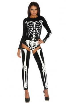 Womens Long Sleeve Skeleton Halloween Costume Black