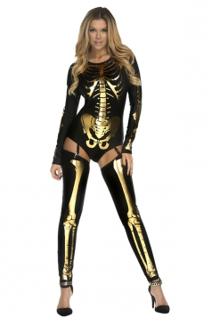 Womens Long Sleeve Skeleton Halloween Costume Gold