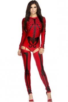 Womens Long Sleeve Skeleton Halloween Costume Red