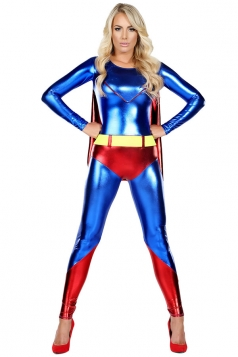 Womens Metallic Long Sleeve Superman Halloween Costume Blue