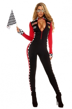 Womens Plunging Neck Racer Halloween Catsuit Costume Black