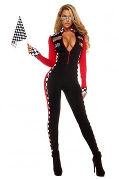 Womens Plunging Neck Racer Halloween Catsuit Costume Black