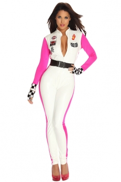 Womens Plunging Neck Racer Halloween Catsuit Costume White