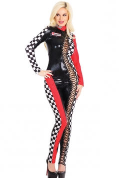 Womens Cut Out Plaid Racer Halloween One-piece Costume Black