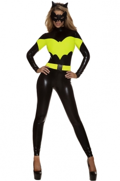 Womens One Piece Batman Halloween Costume Black