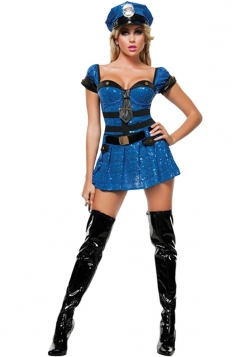 Womens Bandeau Halloween Cop Costume Dress Blue