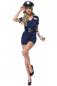 Womens Zipper Detail Cop Halloween Costume Navy Blue