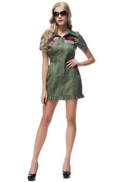 Womens Zipper Short Sleeve Pilot Halloween Costume Dress Army Green