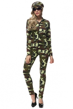 Womens Military Camouflage Halloween Costume Army Green