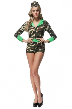 Womens Halloween Military Camouflage Costume Army Green