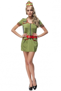 Womens Halloween Agent Costume Dress Army Green