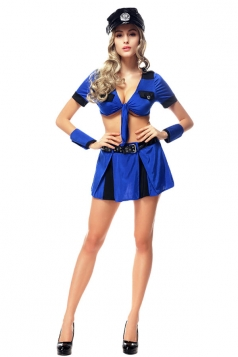 Womens Lace-up Top Halloween Cop Costume Blue