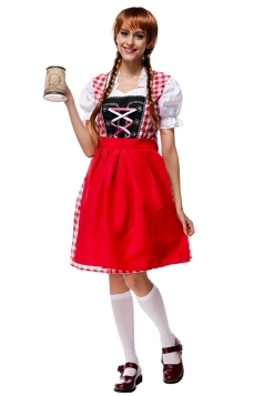 Womens Plaid Puff Sleeve Beer Maid Halloween Costume Red