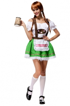 Womens Off Shoulder Beer Maid Halloween Braces Skirt Costume Green