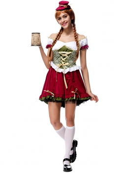 Womens Off Shoulder Lace-up Beer Maid Halloween Costume Ruby
