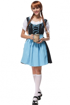 Womens Lace-up Beer Maid Halloween Dress Costume Blue