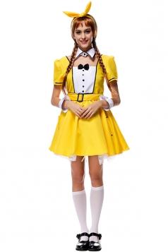 Womens Bow Short Sleeve Bunny Halloween Dress Costume Yellow