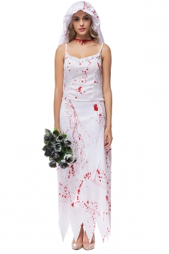 Womens Zombie Bride Halloween Camisole Dress Costume White