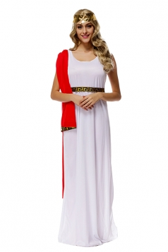 Womens Ancient Greek Athena Halloween Dress Costume White