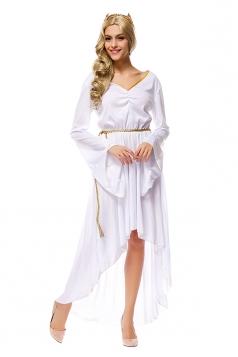 Womens Irregular Bell Sleeve Athena Halloween Costume White