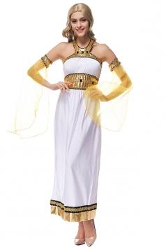 Womens Off Shoulder Ancient Greek Goddess Halloween Costume White