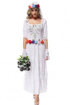 Womens Skull Lace Trim Bride Halloween Dress Costume White