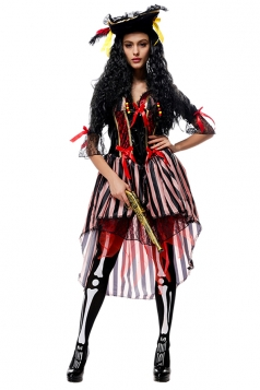 Womens Striped High Low Pirate Halloween Costume Black