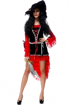 Womens Lace-up High Low Long Sleeve Halloween Pirate Costume Black
