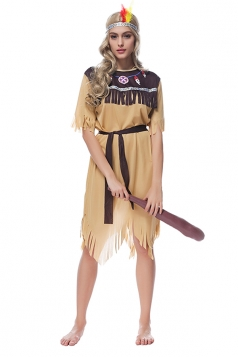 Womens Tassel Irregular Indian Halloween Costume Dress Khaki