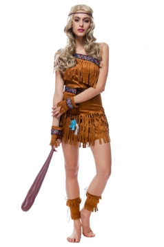 Womens One Shoulder Fringe Indian Halloween Costume Brown