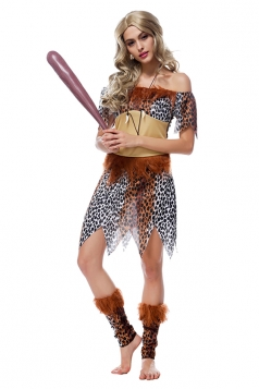 Womens Off Shoulder Leopard Printed Halloween Indian Costume Khaki