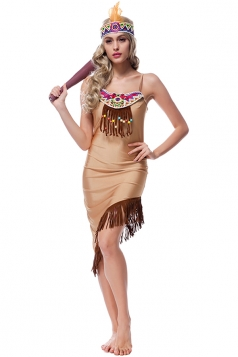 Womens Fringe Irregular Camisole Halloween Costume Dress Khaki