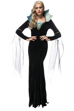 Womens Long Sleeve Vampire Halloween Maxi Costume Dress Black
