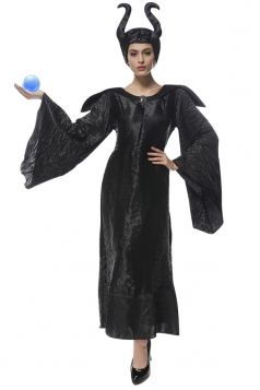 Womens Bell Sleeve Maleficent Halloween Costume Dress Black