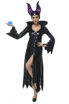 Womens Zigzag Bell Sleeve Halloween Maleficent Costume Dress Black