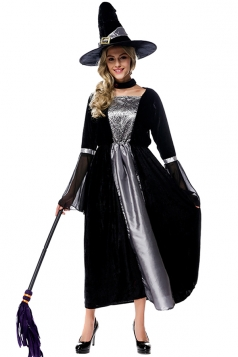 Womens Mesh Patchwork Witch Halloween Costume Black