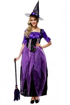 Womens Square Neckline Witch Halloween Costume Purple