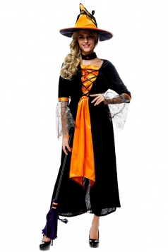 Womens Lace Up Witch Halloween Maxi Dress Costume Black