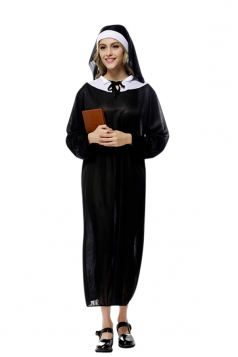 Womens Sheer Long Sleeve Ankle Length Halloween Nun Costume Black