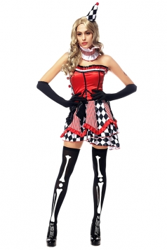Womens Plaid Striped Halloween Circus Tube Costume Red