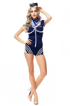 Womens Lace Trim One Piece Halloween Sailor Costume Blue