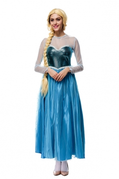 Womens Mesh Splicing Frozen Elsa Halloween Costume Dress Blue