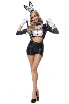 Womens Crop Top Suspender Shorts Bunny Halloween Costume Black