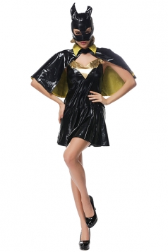 Womens Cloak Sexy Batman Halloween Costume Dress Black