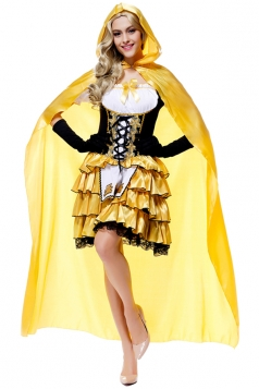 Womens Cold Shoulder Goldilocks Maid Halloween Costume Yellow