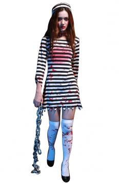 Womens Striped Irregular Sleeve Halloween Zombie Costume Black